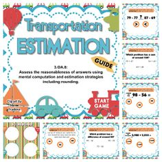 Transportation Estimation SMART BOARD Game - Use estimation with rounding to solve addition and subtraction problems in various formats in this self-checking Smart Board game that is based on the 3rd grade common core standard 3.OA.8. $