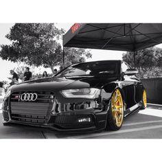 Audi S4 bagged on GOOOOOOOOLD HRE Wheels.