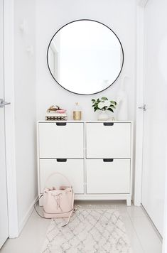 My Hallway Nook Makeover — Adore Home Magazine I recently tackled a small, underused nook in my apartment, with a fresh makeover. Now a spot for storing shoes, keys and handbag, it's now a practical yet stylish space in my home. I think you'll find in m Ikea Duktig, Ikea Algot, Hallway Storage, Ikea Storage, Storage Ideas, Ikea Hallway, Hallway Cabinet, Ikea Entryway, Entry Hallway