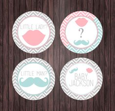 Chevron Gender Reveal Party  Mustache and by whatthehootdesigns, $4.00