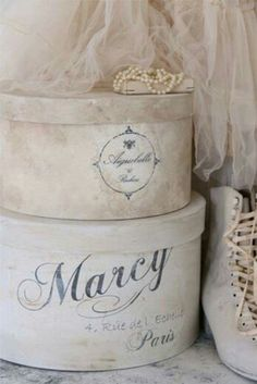 Vintage French Soul ~ I adore hat boxes ... paint them and stencil them to make them more personal.