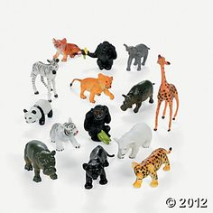 Baby Jungle Animals, 25 for $16...to spraypaint for party decor  {Oriental Trading}