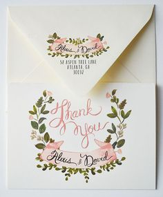 Custom Thank you wedding note cards/Custom set of by firstsnowfall, $110.00