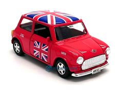 Mini Cooper Red Union Jack Car Die Cast Metal Model Toy Pull Back & Go Action UK