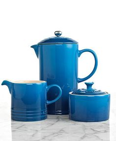 Le Creuset French Press with Creamer and Sugar Bowl Set, Stoneware - Coffee Makers - Kitchen - Macy's