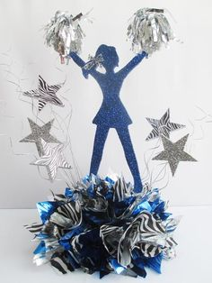 Cheerleader Cutout (Hands in the Air) – Designs by Ginny Sports Banquet Centerpieces, Banquet Decorations, Banquet Ideas, Pom Pom Centerpieces, Cheer Pom Poms, Cheer Bows, Cheer Camp, Cheer Dance, Cheer Banquet