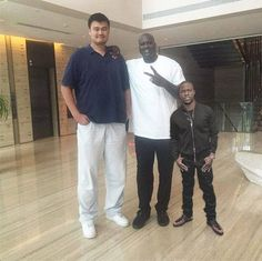 Yao Ming, Shaquille O' Neal and Kevin Hart