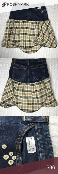 "Dad's Plaid Jeans Skirt 29"" Waist Dad's Plaid Jeans Skirt 28"" Waist. Fitted at the hips and offers flirty and soft for summertime fun. Made of recycled materials by Catherine Renee' of Be Real Inc. Length in front 18"". Length I back 21"". Be Real Inc.  Skirts High Low"