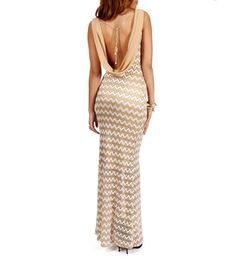 Sheryl- Ivory/Taupe Zig Zag Crochet Long Dress on sale at the time of this pin