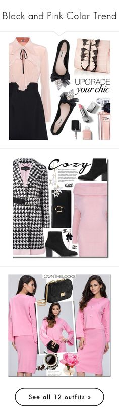 """""""Black and Pink Color Trend"""" by yours-styling-best-friend ❤ liked on Polyvore featuring Miu Miu, Nancy Gonzalez, Lancôme, Chanel, Burberry, Yves Saint Laurent, Salvatore Ferragamo, minidress, holidaystyle and cozychic"""