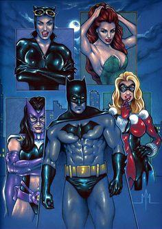 Batman and the Gotham City Sirens by Michael McDaniel
