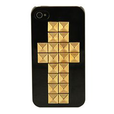 Studded: Cross (black and gold) Coque Iphone 4, Gadget, Iphone Cases, Black, Black People, Iphone Case, Gadgets, I Phone Cases