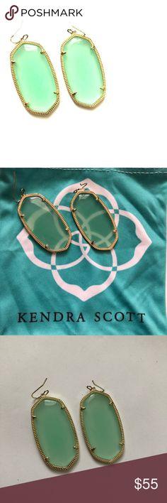 Kendra Scott Danielle Earrings light green New.  Only worn once.  Comes with KS dust bag. Kendra Scott Jewelry Earrings