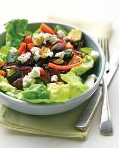 You won't miss meat with these satisfying vegetarian lunch salads. They burst with fresh and roasted vegetables, hearty grains like bulgur and quinoa, and protein-rich beans and cheese.Toss warm roasted zucchini, carrots, and onions in a light vinaigrette with Boston lettuce and goat cheese. This salad is endlessly flexible: Add bell peppers, tomatoes, cauliflower, or any other vegetables you have on hand.