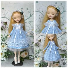 Blue dress with pinafore for Monster High/EverAfterHigh