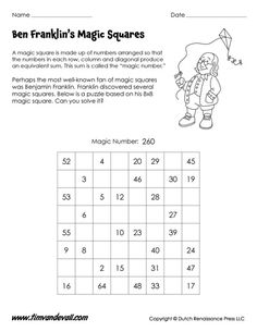 3x3 magic square worksheet for kids | Math Printables | Pinterest ...