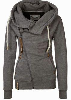 Side zip grey hoodie Sweatshirts Online, Grey Sweatshirt, Romwe, Fashion Styles, Fashion Online, Spice, Hoods, Sporty, Grey Hoodie