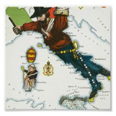 Vintage Cartoon Map of Italy Posters   #TuscanyAgriturismoGiratola