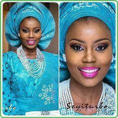 teal blueasoebi sugarweddings monotone makeup nigerianweddingpictures