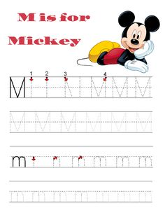 Printable letter tracing pages for preschool with Disney characters!