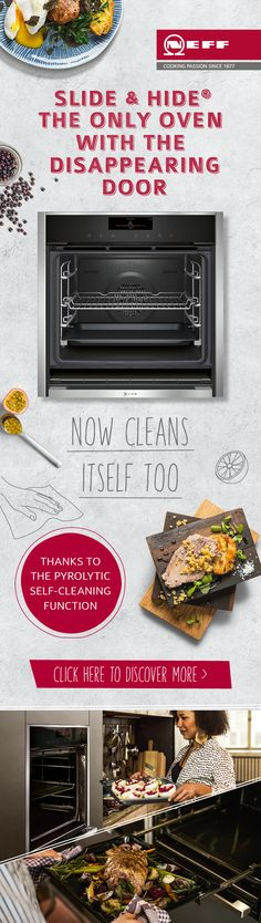 With the stylish and innovative Slide&Hide® single oven now available with pyrolytic self-cleaning, dealing with oven spatter and spillages, from baking roasting and grilling won't eat into your dining time. Discover how the NEFF range of appliances can make the time you spend in the kitchen even more of a joy.