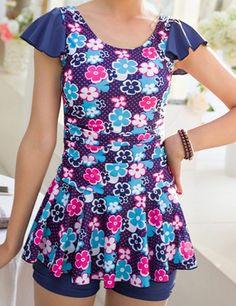 Stylish Scoop Collar Floral Print Flounced One-Piece Women's Swimwear Modest Skirts, Modest Outfits, Modest Fashion, Fashion Outfits, Style Fashion, Swimsuits 2017, Modest Swimsuits, Cute Swimsuits, Cute Little Girl Dresses