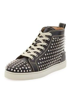 6740bb3efe7d Christian Louboutin Men s Louis Mid-Top Spiked Leather Sneakers Tops
