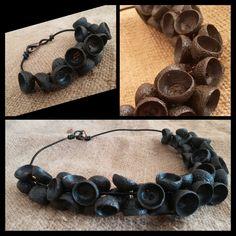 Bracelet & necklace acorn,  bracciale e collana con gusci  di ghiande
