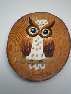 Vintage Owl Painting Rustic Birch Slice Of Wood Log by BagsnBling, $15.50