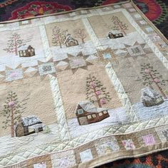 Lace Cabins by Meg Hawkey Crabapple Hill Studio . Quilted by Wendy Iris, Unexpected Threads