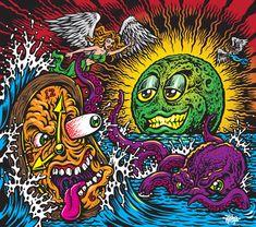 Jimbo Phillips Graphix Other Art Skateboard Deck Art, Bright Art, Smoke Art, Monster Art, Weird Art, Tentacle, Graphic, Fantasy Art, Cool Art