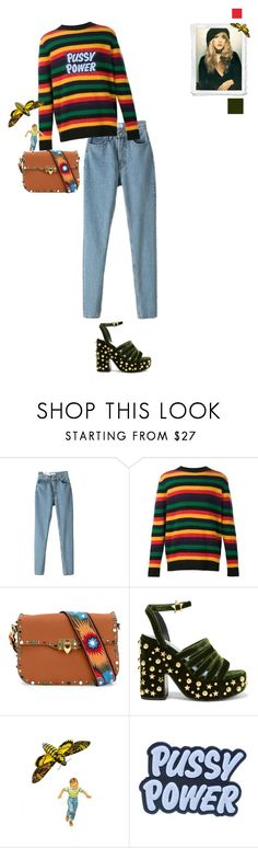 """POWER"" by lolo-green ❤ liked on Polyvore featuring The Elder Statesman, Valentino, MR by Man Repeller, Demian Renucci, StreetStyle, pussypower and 70sinspired"