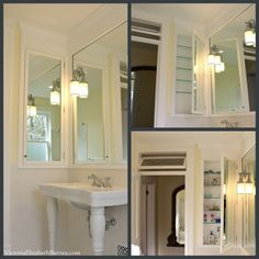 transom over br door DIY vintage bathroom renovation—see the extra-large recessed, mirrored cabinet we designed and built! Bad Inspiration, Bathroom Inspiration, Bathroom Flooring, Bathroom Fixtures, Window In Shower, Victorian Bathroom, Victorian House, Mirror Cabinets, Bathroom Cabinets