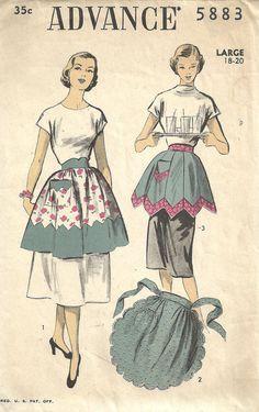 Advance 5883 / Vintage 50s Sewing Pattern / Tie On Hostess Apron / Size Large