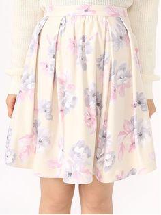 オリジナル花柄タックフレアスカート