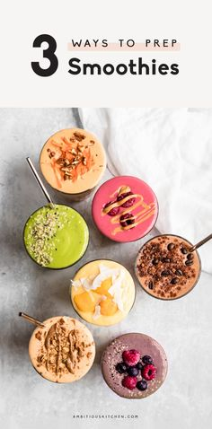 A comprehensive guide on how to prep smoothie ahead of time using 3 different foolproofmethods: in ice cube trays, a mason jar or a smoothiefreezer pack! You'll love these simple tips and tricks to help you meal prep your smoothies for healthy on the go breakfasts or post workout snacks. #smoothies #mealprep #mealprepping