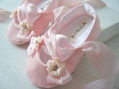 Pink Satin Ballet Slipper, Baby Girl Shoes, 'Rosalinde', Toddler Ballet Flats, Flower Girl Shoes, Bobka Shoes by BobkaBaby