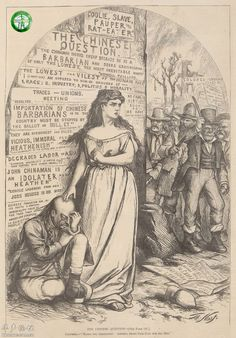 Columbia, personification of America, defends the rights of Chinese immigrants, One of the few cartoons of the period to oppose the eventual Chinese Exclusion Act of Us History, American History, Family History, Immigration And Citizenship, Society Problems, Chinese American, Chinese Man, Political Cartoons, Political Art