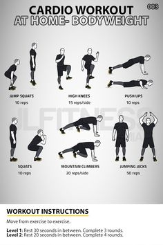 Six bodyweight exercises. 3 to 4 rounds. Workout should take you about 30 minutes to complete. Chest Workout For Men, Home Workout Men, Flat Abs Workout, Gym Workout Chart, Full Body Workout Routine, Cardio At Home, Workout List, Abs Workout Routines, Gym Workout Tips