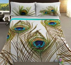 Cubre Dual NG Pavo Real - Peacock feather bedding pillow cover covers blanket