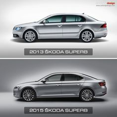 2013 and 2015 Skoda Superb Design Comparison - Side view