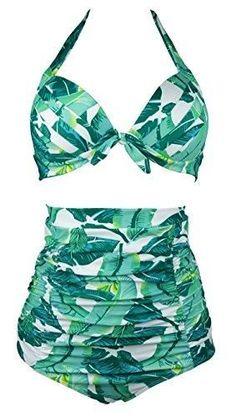 7da31d81b6 Amazon.com  Cocoship Retro 50s Black Pink Blue Floral Halter High Waist  Bikini Carnival Swimsuit(FBA)  Clothing