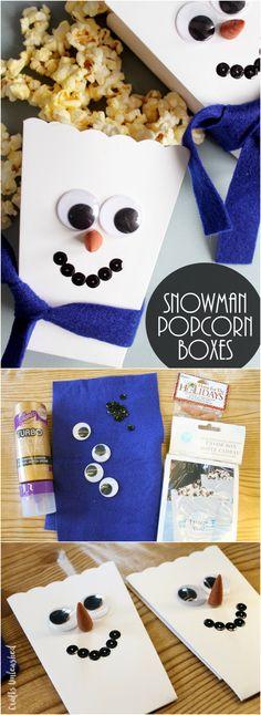 Adorable DIY Popcorn Box Snowmen