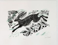 Running Hare - Original Linocut Print Hare Illustration, Rabbit Art, Textile Fiber Art, Bunny Art, Sketch Inspiration, Silk Screen Printing, Linocut Prints, Wildlife Art, Bird Prints