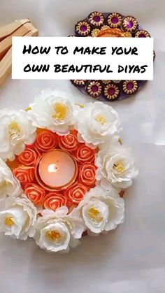 Origami Flowers, Paper Flowers, Make Your Own, Make It Yourself, Diwali Diy, Diy Gifts, Floral Design, Candle Holders, Beautiful