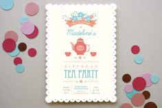Garden Tea Children's Birthday Party Invitations by Oma N. Ramkhelawan at minted.com, TEA PARTY...omg adorable.