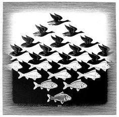 Sky and Water I - MC Escher woodcut on Japan paper Elements And Principles, Elements Of Design, Op Art, Escher Kunst, Mc Escher Art, Escher Tessellations, Willy Ronis, Tesselations, Illustration
