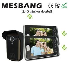 229.40$  Watch now - http://ali114.shopchina.info/go.php?t=32711067917 - 2017 new  black color 2.4G wireless video door camera intercom one camera two  7 inch monitor  free shipping 229.40$ #magazineonline
