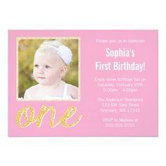 Pink Gold Faux Glitter Photo 1st Birthday Custom Invite