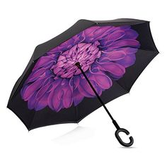 Double Layer Inverted Umbrella Cars Reverse Umbrella Elover Windproof UV Protection Big Straight Umbrella for Car Rain Outdoor With C-Shaped Handle and Carrying Bag (Violet Flower)